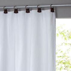 Private Single Pre-Washed Linen Curtain with Leather Tabs AM.PM Private pre-washed linen curtain with leather tabs. Simple, natural and chic, pre-washed linen softens and takes on a subtle and highly attractive. Plain Curtains, Blue Curtains, Linen Curtains, Lava, Botanical Bedroom, Drapery Styles, Partition Screen, Window Sizes, My New Room