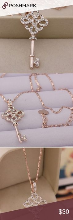 """Beautiful Rose Gold filled Key Necklace.. This absolutely stunning pendant & chain are the perfect compliment to any outfit. This is an accessory you will love for a long time. Rose Gold filled. 12"""" from top to bottom (including 2"""" extender) Jewelry Necklaces"""