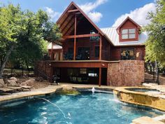 Book this Vacation rental cabin / bungalow. Located in Burnet, TX United States Cabin Rentals In Texas, Texas Vacations, Texas Hill Country, Resort Style, Private Pool, Log Homes, Vacation Ideas, Vacation Rentals, House Styles