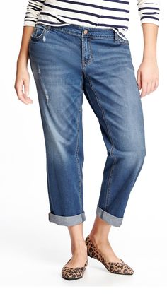Plus Size Destroyed Skinny Boyfriend Jeans