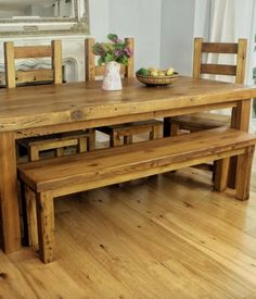 Moss Rustic Reclaimed Wood Dining Table with bench. Get the  natural look with our solid wood dining table, for modern as well as traditional interiors.