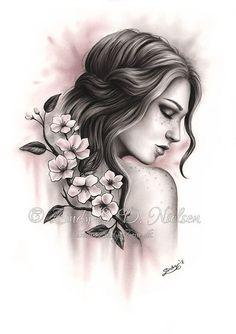 Spring Dreams by Zindy on DeviantArt Tree Drawings Pencil, My Drawings, Beautiful Nature Spring, Cherry Blossom Art, Hair Sketch, Tree Artwork, Blossom Tattoo, Fantasy Hair, Arte Pop