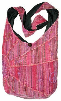 Amazon.com: Pink Embroidered Peace and Sunrise Sling Purse Handbag: Clothing