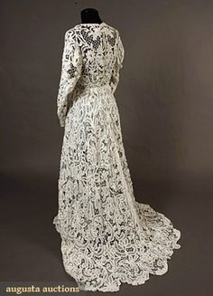 BATTENBURG LACE TRAINED GOWN, c. 1905