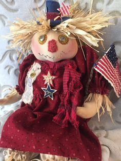 July 4th Scarecrow, Independence Day, Patriotic Scarecrow, Primitive Dolls, Fourth of July Doll, Dolls Handmade, Patriotic Doll, USA Doll by LovedByKadie on Etsy