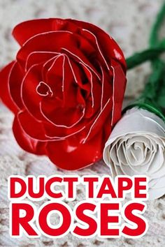"""These duct tape roses will """"wow"""" your recipient! See how you can make these realistic roses using duct tape and some pipe cleaners. Craft Projects For Kids, Crafts For Teens, Children Crafts, Craft Ideas, Edible Crafts, Fun Crafts, Holiday Crafts, Duct Tape Rose, 16th Birthday Gifts"""