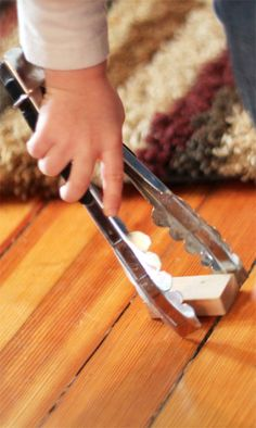 Fine Motor Block Activity for Toddlers Tongs to pick up stuff