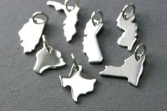 Sterling Silver State Charms - Add on Charms - Personalized Charms