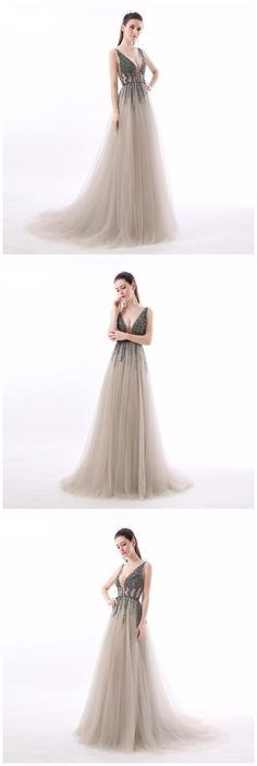 Chic A-line Prom Dresses V neck Beading Long Prom Dress Evening Dresses by ainiprom, $159.63 USD