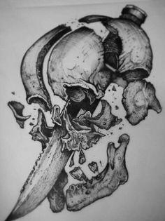 Dark Art Illustrations, Dark Art Drawings, Pencil Art Drawings, Art Drawings Sketches, Tattoo Drawings, Skull Tattoos, Body Art Tattoos, Tatoos, Totenkopf Tattoos