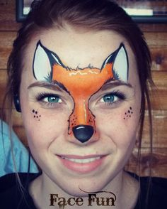Super cute foxy lady design. Face painting quick fox design. Painted by Lizz Daley of facefunutah.com.