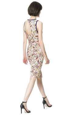 Image 2 of PRINTED DRESS WITH CONTRASTING PIPING from Zara