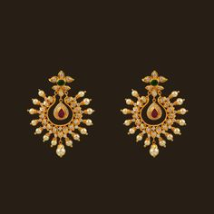 Gold Ruby & Emerald Earrings (108A38239) | Vummidi Bangaru Jewellers