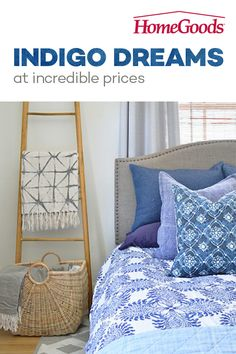 Bedroom refresh with indigo artisanal patterns Home Bedroom, Bedroom Decor, Bedroom Ideas, Bedroom Inspiration, Master Bedroom, Big Pillows, Indigo, H & M Home, Beautiful Bedrooms
