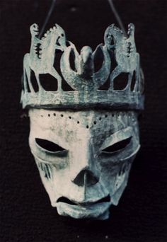 """Thanatos"" mask by Clive Hicks-Jenkins. In Greek mythology, Thanatos was the daemon personification of death."