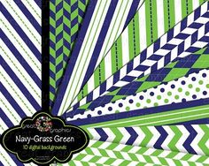 Navy and Grass Green Digital Paper Background Preppy Paper
