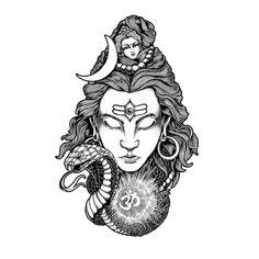 Lord Shiva Framed Art Print by Wayan Bayu - Vector Black - Hindu Shiva, Arte Shiva, Shiva Art, Hindu Art, Shiva Shakti, Art Drawings Sketches, Tattoo Sketches, Tattoo Drawings, Lord Shiva Sketch