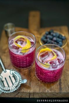 A gorgeous gin sour cocktail made with blueberries. Refreshing, pretty and the perfect balance of sweet and tart.