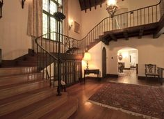 """The Glen Castle: Gorgeously well-preserved French Normandy style estate home outside Philadelphia in Rose Valley, PA — I want to throw lavish Christmas parties in this """"stair tower."""""""