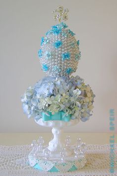 Pearl-Studded Faberge Easter Egg Topiary Detail