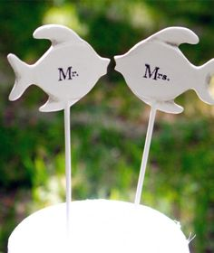 2014 fishes beach wedding cake topper, Mr. and Mrs. beach wedding cake topper.