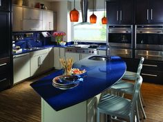 Cooking In Blue 10 Inspiring Kitchens Styled In Blue Blue Kitchen Countertops And Kitchen Styling
