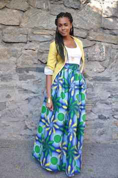 African Print Skirt  The Laura Maxi A by CHENBURKETTNY on Etsy, $129.00