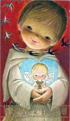 2041G - FERRÁNDIZ - PRECIOSO RECORDATORIO - EDICIONES SUBI 5097.5 -DATA 1974 (Postales - Dibujos y Caricaturas) Vintage Christmas Cards, Vintage Cards, Vintage Postcards, Angel Drawing, Christian Images, Illustrator, Communion Invitations, First Holy Communion, Christmas Past