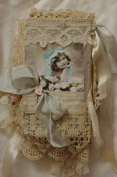 back of shabby chic fabric book