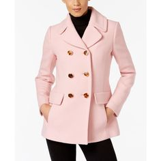 Kate Spade New York Bow-Back Peacoat ($418) ❤ liked on Polyvore featuring outerwear, coats, jasper pink, pink bow coat, pink peacoat, pea jacket, bow back coat and peacoat coat