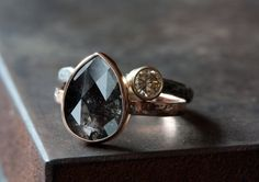 GORGEOUS!!! - Custom Natural Rose Cut Black Diamond Engagement Ring