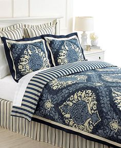 Martha Stewart Collection Bedding, Indigo Damask 6 Piece Comforter or Duvet Cover Sets - Duvet Covers - Bed & Bath - Macy's
