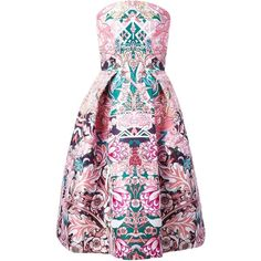 Mary Katrantzou JQ Nevis Dress ($1,858) ❤ liked on Polyvore featuring dresses, vestidos, cocktail dresses, mary katrantzou, pink skater skirt, pink dress, corset dress, flared skirt and strapless dress