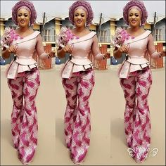 Amazing Top and Trouser Aso Ebi Styles 2018 for Stylish Wedding Guests.Amazing Top and Trouser Aso Ebi Styles 2018 for Stylish Wedding Guests African Lace Dresses, African Wedding Dress, Latest African Fashion Dresses, African Men Fashion, Africa Fashion, African Women, African Beauty, African Attire, African Wear