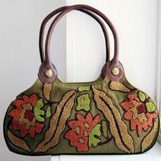 Womens Handbag Purse - Earthy Green Purse Cotton Canvas Embroidered Olive Green Purse Leather Handles Bags and Purses Womens Boho Chic Bag,   $58.00