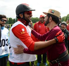 In the presence of His Majesty the King and Queen of Britain and the Ruler of Dubai and Nasser bin Hamad Hamdan bin Mohammed participating in the race for the festival Windsor Equestrian in Britain