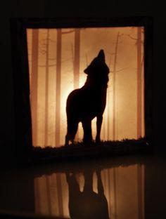"""Nightmare Guard"" - light box wolf forest"