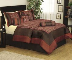 """7 Pieces Luxury Multi-color Chenille Stripe Comforter Set Bed-in-a-bag Queen Size Bedding by Irena. $59.99. Material: 100% Polyester. Care instruction: Dry Clean Recommended.. Design: Chenille Stripe . Color: Burgundy and gold.. 1 Piece Comforter 86"""" x 86"""". 1 Piece Bed Skirt 60"""" x 80"""" + 14"""". 2 Pieces Shams 21"""" x 27"""". 1pc Neck Roll Pillow 6.5"""" x 18"""".. 1pc Oblong Pillow 12"""" x 17"""". 1Pc Decorative Square Pillow 16"""" x 16"""". Comforter sets are designed to keep you up..."""