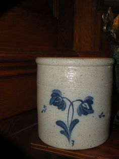 "Vintage Rowe Pottery Crock Stoneware with Flower Motif 7"" Tall 