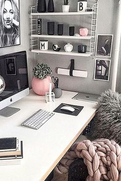 Converting a corner of your bedroom into a small home office area or workspace. Smart home office ideas for work from home moms and students. Love the gray and white decor theme of this home office - the pink accents are perfect! office ideas for women Cozy Home Office, Home Office Space, Home Office Design, Home Office Decor, At Home Office Ideas, Office Designs, Small Office Decor, Office Inspo, Office Chic