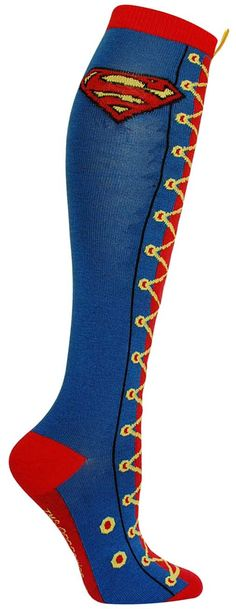 Blue knee high sock with Superman emblem and a lace up pattern up the front of the leg - topped by a gold ribbon.