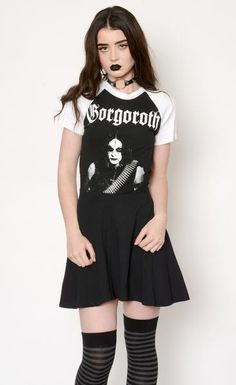 Custom made Gorgoroth Baby Doll Dress! Professionally sewn. Altered from a large men's t-shirt. Super soft cotton. Short baseball style sleeves. Round neckline. Hits above the knee.