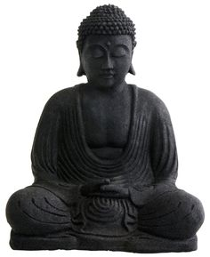 Bring home the serenity and grace of the Buddha with this black sandstone statue. Seated in the lotus position, the Buddhas hands lie in his lap, one over the other with thumb tips touching, a gesture that signifies humility and gratitude.
