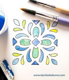 ✍ Handmade paint 🖌 #handmade #watercolor #paint #cementine #salento #tile #vintage #puglia www.danilodedonno.com Handmade Paint, Fashion Graphic Design, Tile, Watercolor, Illustration, Painting, Vintage, Pen And Wash, Mosaics