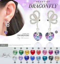 """Heart of #Dragonfly"" #Crystal #Swarovski   #elements  A: Peridot ab  B: Vitrail Medium  C: Light Topaz ab D: Light Siam ab  E: Padparadscha ab F: Rose ab  G: Fuchsia ab  H: Vitrail light  I: Aurora Boleale  J: Violet ab  K: Heliotrope  L: Sapphire ab  M: Aquamarine ab  N: Bermuda Blue  O: Silver Night  P: Golden Shadow ($39)  E-mail : nanthwan13@yahoo.com"
