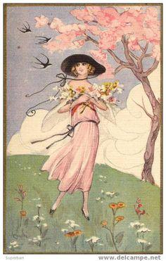 ART DÉCO : JEUNE FEMME en ROBE ROSE avec FLEURS et HIRONDELLES - SUPERBE ILLUSTRATION SIGNÉE: CHIOSTRI (z-225)