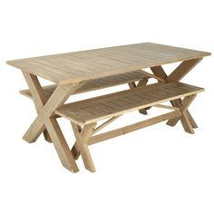 Garden table with 2 benches in fir L150 | Maisons du Monde