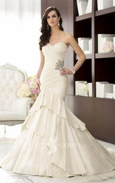 mermaid sweetheart strapless asymmetrical pleated satin wedding dress