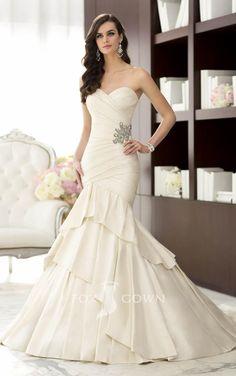 mermaid sweetheart strapless asymmetrical pleated satin wedding dress
