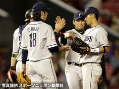 Hideaki Wakui celebrates the Lions' 4-2 victory over the Eagles with his teammates after slamming the door on the Eagles for the 30th save of the season at Kleenex Stadium Miyagi on Wednesday, October 3, 2012.